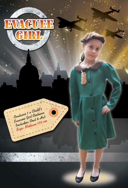 Girls 1940s Girl Costume Child Schoolgirl Narnia Fancy Dress Outfit
